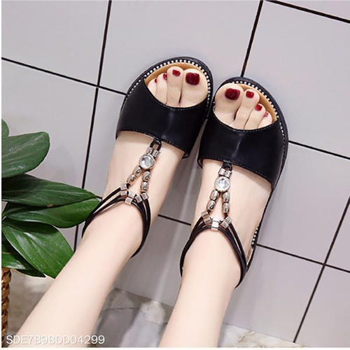 Beaded Rhinestone Flat Bottom Roman Shoes With Female Sandals