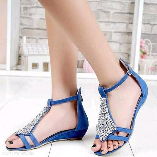 Flat Bottom Back Zippered Frosted Beaded Sandals