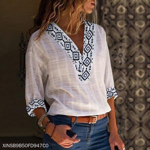 V-Neck Ethnic Printed Shirt