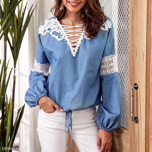 V-Necked Lacy Lace Patchwork Long-Sleeved Blouse
