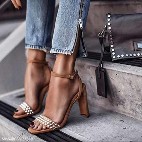 Metal Rivet Word Open Toe Side Buckle Sandals