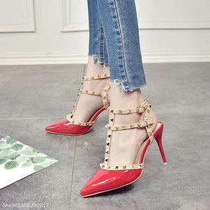 Studded Tip Fashion Stiletto Nude Straps Roman Pumps