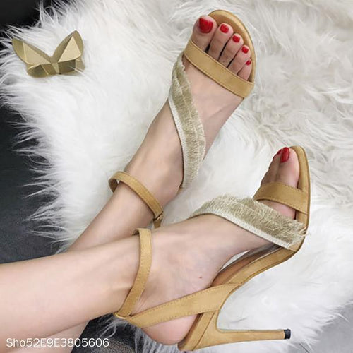 Tassel Ankle Strap High Heel Sandals