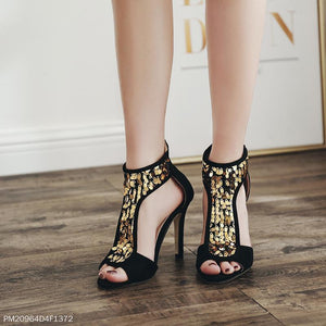 Suede Handmade Sequined Stiletto Heel Zipper Sandals