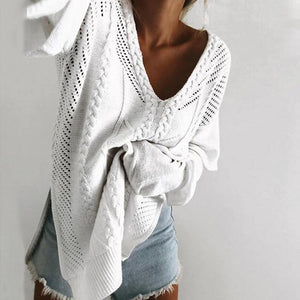 V Neck Long Sleeve Hollow Out Split Sweaters