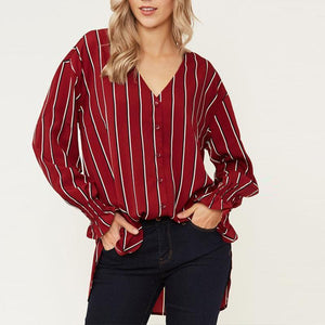 V Neck Stripes Printed Lantern Long Sleeve Button Blouses