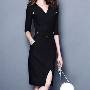 Lapel Five-Quarter Sleeve Tight Skirt