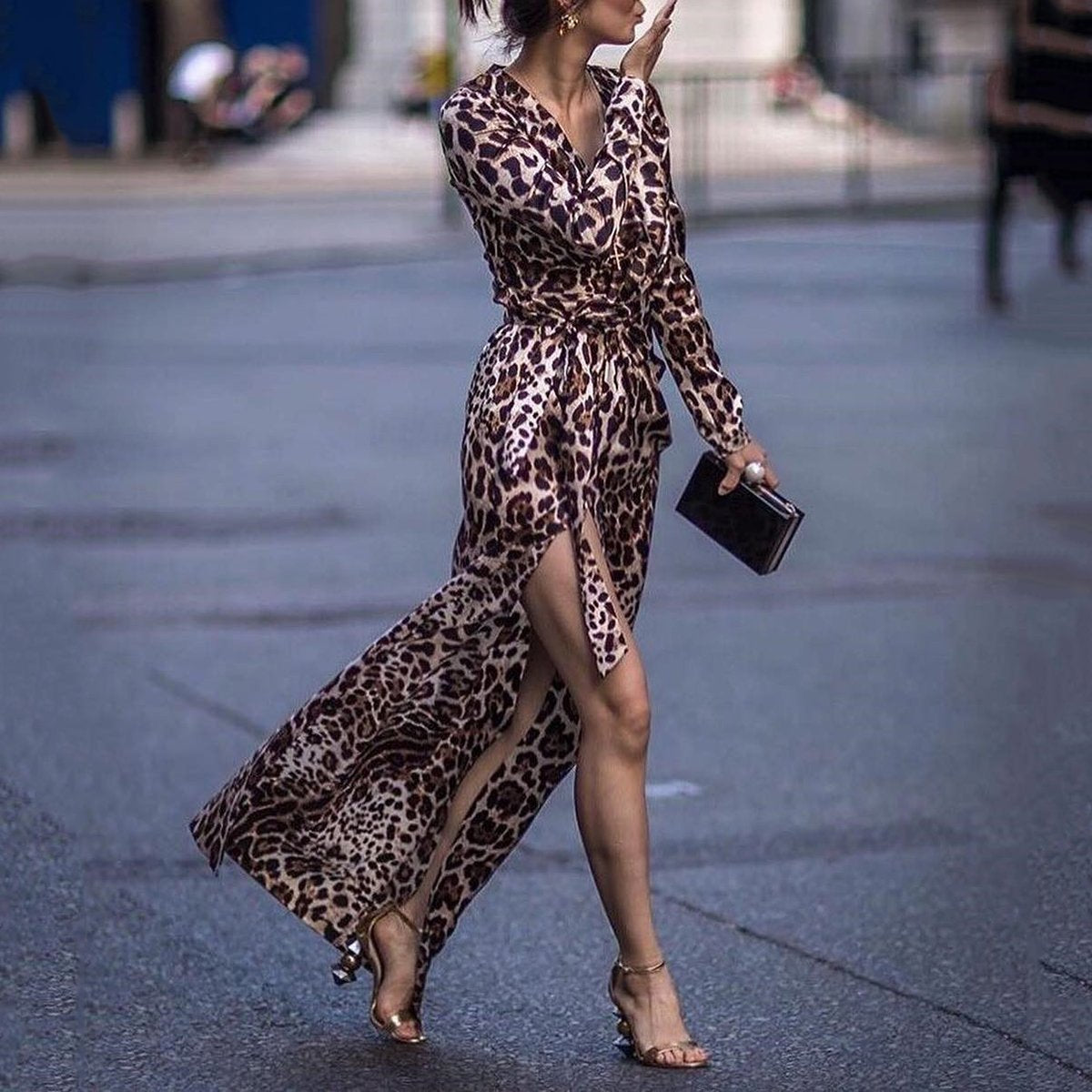 Sexy Leopard Print Side Vented Long Sleeve Maxi Dress
