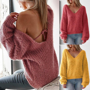 V Neck Sexy Backless Long Lantern Sleeve Sweaters