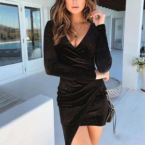 Black Solid Tight V Neck Sexy Long-Sleeved Dress