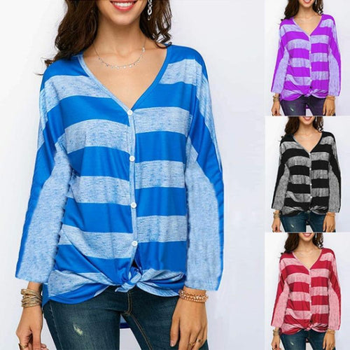 V Neck Stripes Printed Long Sleeve Casual T-Shirts