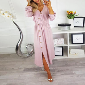 V Neck Long Sleeve Button Plain Casual Dress
