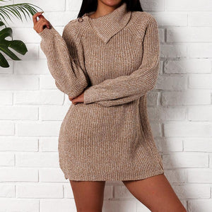 Turtle Neck Zipper Long Lantern Sleeve Knitting Casual Dress