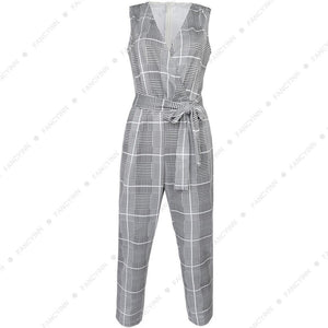 Sleeveless Plaid Stripe Jumpsuits