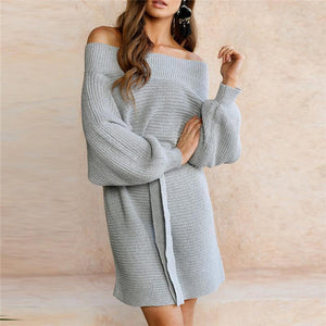 Sexy Strapless Bat Sleeve Solid Color Knitted Dress