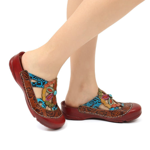 Leather Flat Shoes Floral Hollow Breathable Beach Loafers