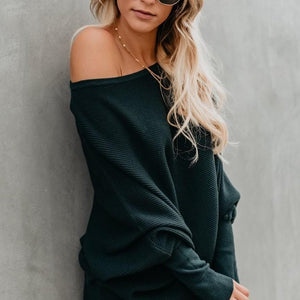 Stylish Bat-Sleeve Ribbed Baggy Knit Sweater