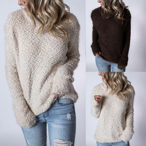Solid Color High Collar Long Sleeve Lamb Sweatshirts