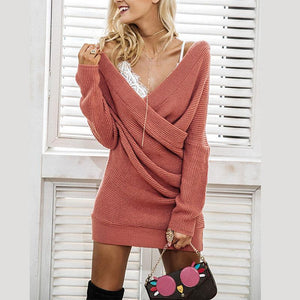 V Neck Long Sleeve Cross Knitting Fashion Sweaters
