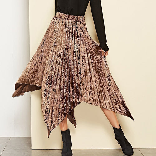 Stylish Rubber Velvet Irregular Pleated Skirt