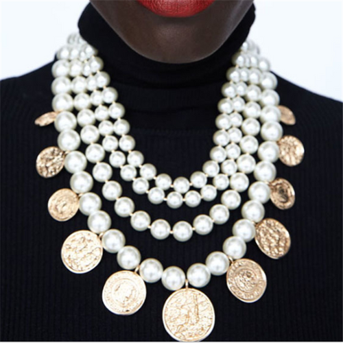 Vintage Multilayer Pearl String   Coin Necklace