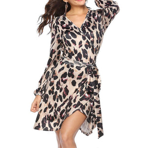 V Neck Long Sleeve Leopard Printed Belt Casual Dress