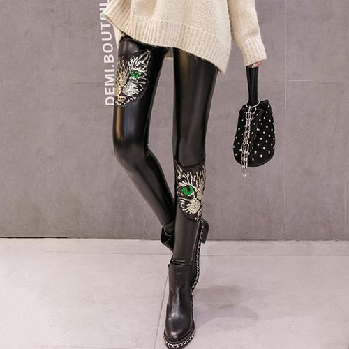 Sequins And Velvet Base PU Leather Pants