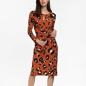 Vintage Tie Print Long   Sleeve Slim Maxi Dress