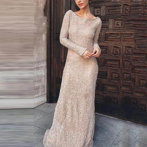 Elegant Stylish Slim Paillette Wide Collar Long Sleeve Evening Dress