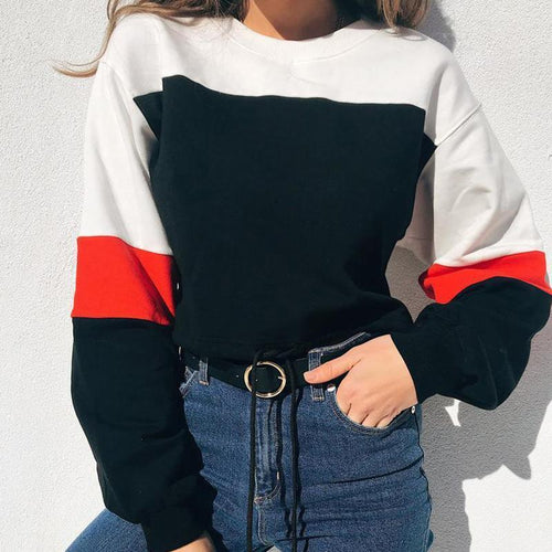 Round Neck Long Sleeve Color Block Fashion Sweatshirts