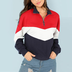 Zipper Long Sleeve Color Block Fashion Sweatshirts