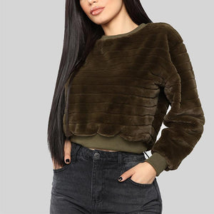 Round Neck Long Sleeve Plain Mini Sweatshirts
