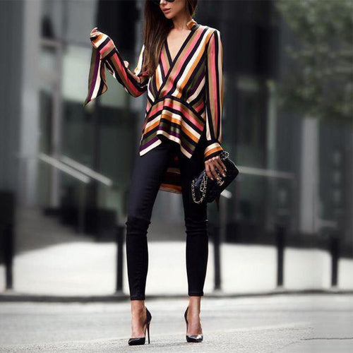 Fashion Business Slim Strip V Collar Long Sleeve Shirt