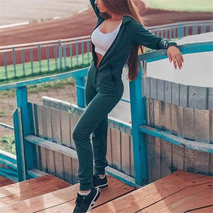 Hooded Sports Casual Jumpsuit