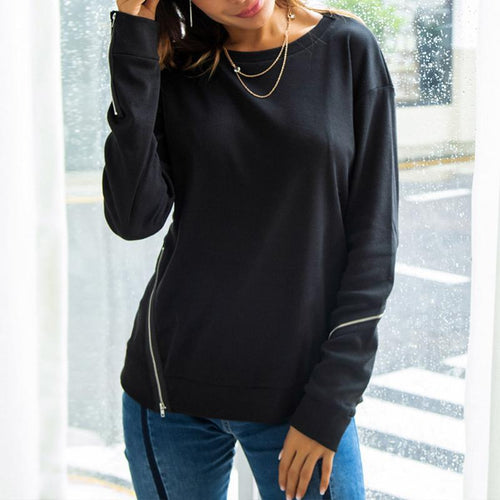 Round Neck Long Sleeve Zippers Plain Sweatshirts