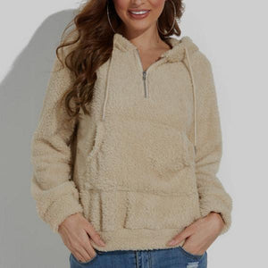 Zipper Cashmere Long Sleeves Pocket Hoodie