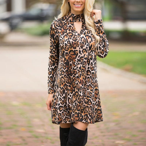 Turtle Neck Hollow Out Long Sleeve Leopard Printed Shift Dress