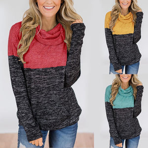Turtle Neck Long Sleeve Color Block Fashion Sweatshirts