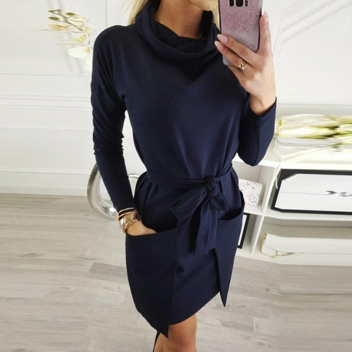 Turtle Neck Long Sleeve Belt Plain Casual Dress