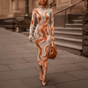 Sexy High Collar Digital Printed Slim Maxi Dress