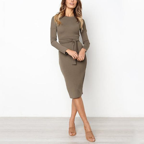 Sexy Pure Color   Temperamental Long Sleeve Slim Maxi Dress