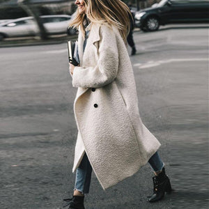 Winter Wool Blends Coat Women Long Slim Thicken Warm Outwear