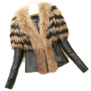 PU Leather Winter Faux Fur Collar Soft Jackets