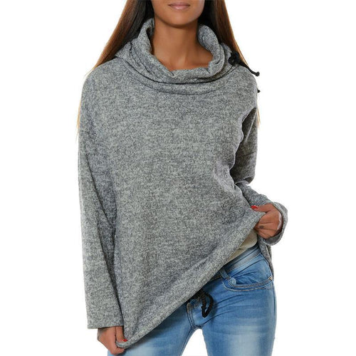 Turtle Neck Long Sleeve Plain Casual Sweatshirts