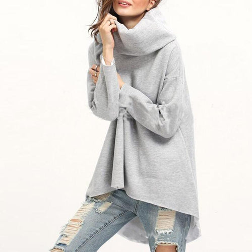 Turtle Neck Long Sleeve Loose Fashion Sweatshirts
