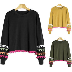 Round Neck Long Sleeve Tassel Balls Casual Sweatshirts
