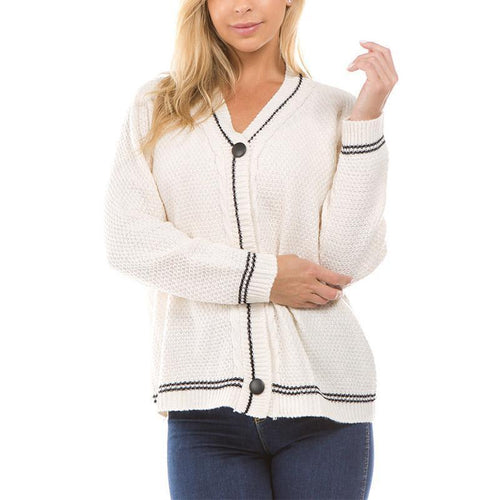 V Neck Long Sleeve Button Knitting Cardigans