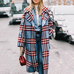 Fashion Lapel Collar Winter Loose Check Long Coat