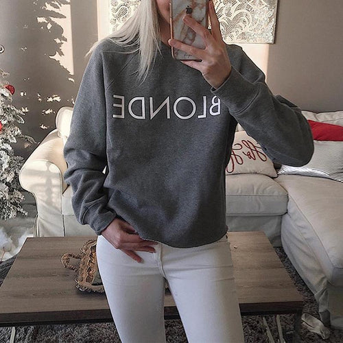 Round Neck Long Sleeve Letters Printed Sweatshirts