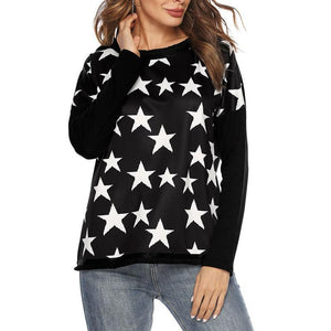 Round Neck Star Printed Long Sleeve Casual Sweatshirts